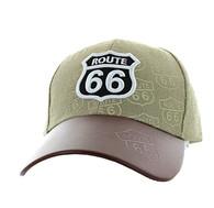 VM753 Route 66  Velcro Cap (Khaki & Black)