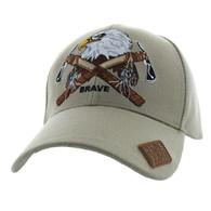 VM692 Native Pride Eagle Velcro Cap (Solid Khaki)