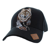 VM694 Native Pride Wolf Velcro Cap (Solid Black)