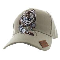 VM694 Native Pride Wolf Velcro Cap (Solid Khaki)
