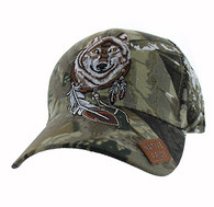 VM694 Native Pride Wolf Velcro Cap (Solid Hunting Camo)