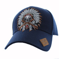 VM699 Native Pride Indian Chief Velcro Cap (Solid Navy)