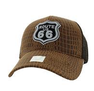 VM738 Route 66 Mesh Trucker Cap (Brown & Brown)