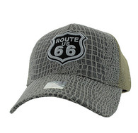 VM738 Route 66 Mesh Trucker Cap (Grey & Khaki)