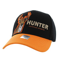 VM719 Deer Hunt Velcro Cap (Black & Orange)