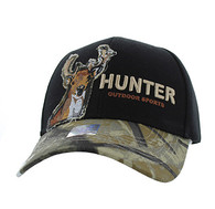 VM719 Deer Hunt Velcro Cap (Black & Hunting Camo)