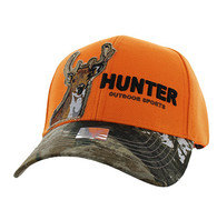 VM719 Deer Hunt Velcro Mesh Trucker Cap (Orange & Hunting Camo)