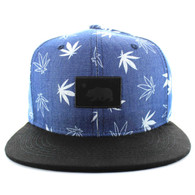 SM650 Cali Bear Cotton Snapback (Jean Blue & Black)