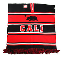 WP010 Winter Cali Bear Poncho (Black & Red)