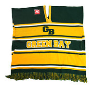WP010 Winter Green Bay Poncho (Dark Green & Gold)