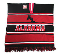 WP010 Winter Alabama Poncho (Black & Burgundy)