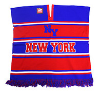 WP010 Winter New York Poncho (Royal Blue & Red)
