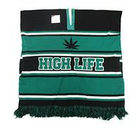 WP010 Winter Marijuana Poncho (Black & Kelly Green)