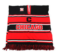 WP010 Winter Chicago Poncho (Black & Red)