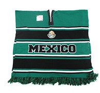 WP010 Winter Mexico Poncho (Black & Kelly Green)