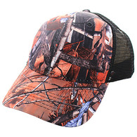 VP022 Blank Mesh Back Trucker Velcro Cap #1 (Hunting Camo & Black)