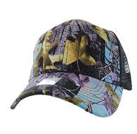 VP022 Blank Mesh Back Trucker Velcro Cap #3 (Hunting Camo & Black)
