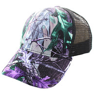 VP022 Blank Mesh Back Trucker Velcro Cap #4 (Hunting Camo & Black)