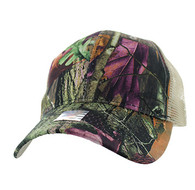 VP022 Blank Mesh Back Trucker Velcro Cap #5 (Hunting Camo & Khaki)