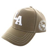 VM743 Los Angeles City Velcro Cap (Solid Khaki)