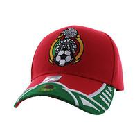VM421 Mexico Soccer Velcro Cap (Red & Kelly Green)