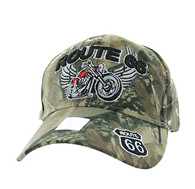 VM603 Route 66 Bike Velcro Cap (Solid Hunting Camo)