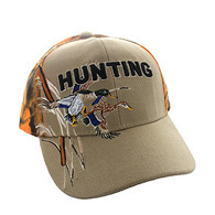 VM520 Hunting Duck Velcro Cap (Khaki & Orange Camo)