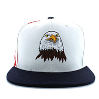 SM598 Eagle Cotton Snapback Cap (White & Navy)