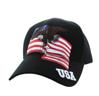 VM151 American USA Eagle Cotton Velcro Cap (Black)