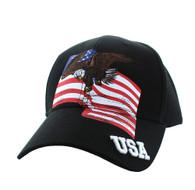 VM151 American USA Eagle Cotton Velcro Cap (Black)