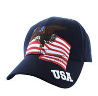 VM151 American USA Eagle Cotton Velcro Cap (Navy)