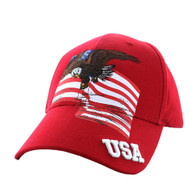 VM151 American USA Eagle Cotton Velcro Cap (Red)