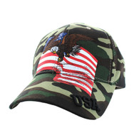 VM151 American USA Eagle Cotton Velcro Cap (Military Camo)