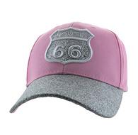 VM628 Route 66 Cotton Velcro Cap (Light Pink & Silver)