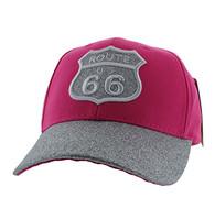 VM628 Route 66 Cotton Velcro Cap (Hot Pink & Silver)