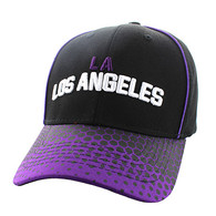 VM748 Los Angeles Cotton Velcro Cap (Black & Purple)
