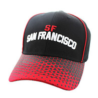 VM748 San Francisco City Cotton Velcro Cap (Black & Red)