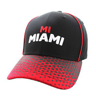 VM748 Miami City Cotton Velcro Cap (Black & Red)