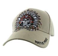 VM263 Native Pride Indian Skull Velcro Cap (Solid Khaki)