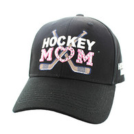 VM764 Hockey Mom Cotton Velcro Cap (Solid Black)