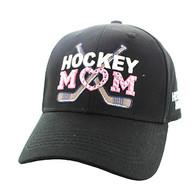 VM764 Hockey Mom Cotton Velcro Cap (Solid Black)