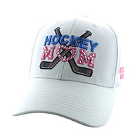 VM764 Hockey Mom Cotton Velcro Cap (Solid White)