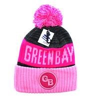 WB073 Green Bay Pom Pom Beanie (Hot Pink & Light Pink)