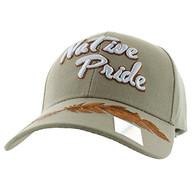 VM272 Native Pride Brown Leather Velcro Cap (Solid Khaki)
