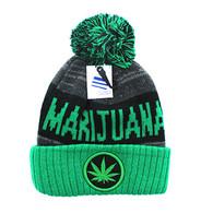 WB073 Marijuana Pom Pom Beanie (Black & Kelly Green)