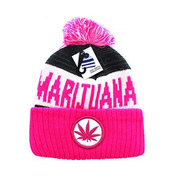 f09c9100 WB073 Marijuana Pom Pom Beanie (White & Hot Pink) - Ace Cap, Inc.