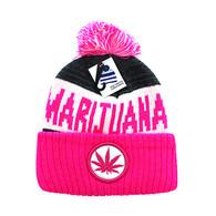 WB073 Marijuana Pom Pom Beanie (White & Hot Pink)