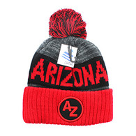 WB073 Arizona Pom Pom Beanie (Black &  Red)
