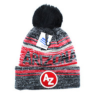 WB074 Arizona Pom Pom Beanie (Black & Grey)