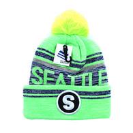 WB074 Seattle Pom Pom Beanie (Lime & Navy)